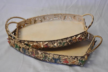 12B369NW S/2 Wholesale butterfly design antique metal serving tray