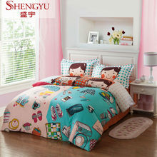 Cartoon girl and boy figure design 100% polyester brushed dispersed print fabric for bedding set