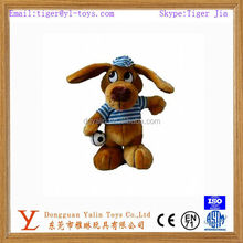 Interesting plush big eyed dog with dress&ball toy for kids