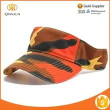 Orange Camo Cotton Golf Tennis Camouflage Sun Washed Sport Visor Hats