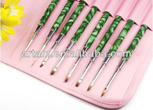 8 pieces Nail art brushes with pink bag
