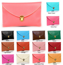 Womens Envelope Synthetic Leather lady clutch bag new fashion envelope clutch bag with chain shoulder 14 Colors 13255