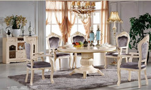 #688B elegant glossy white gold leaf solid wood round 6 chairs dining table neoclassic dining room furniture set buffet cabinet