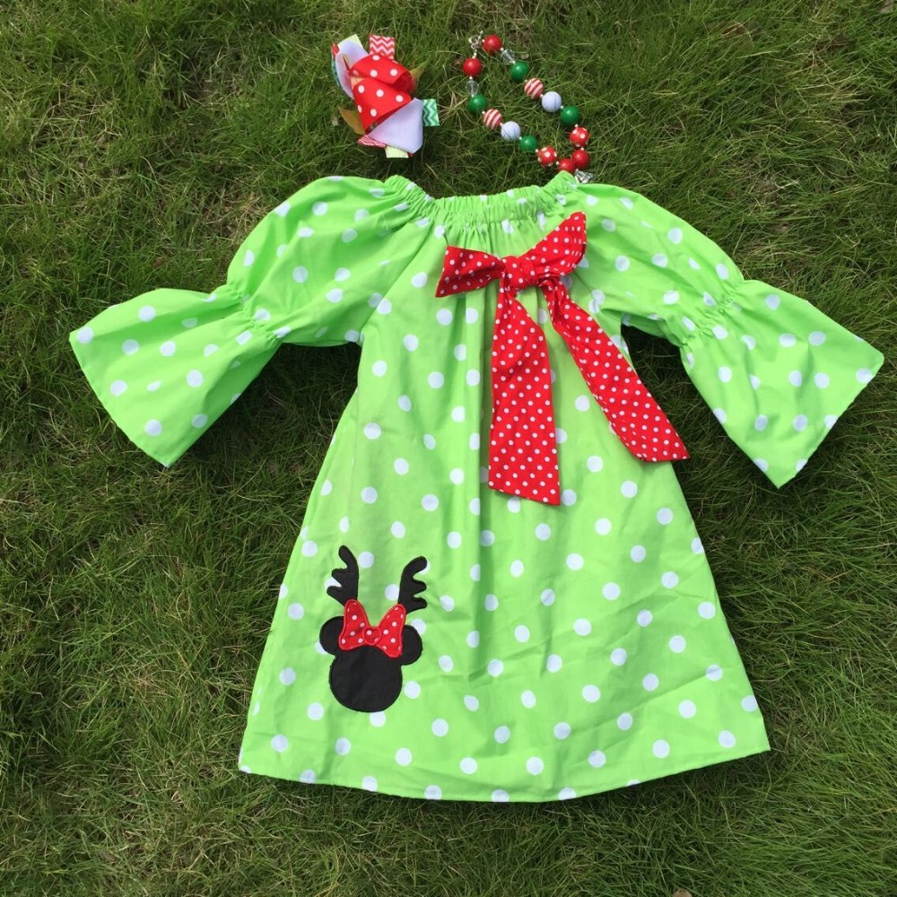 Girl Reindeer Dot Reindeer Dress Girls