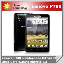 Original Lenovo P780 5.0 inch android phone MTK6589 Quad Core 1.2GHz 4000mAh battery 8.0MP Camera Dual SIM