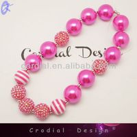 2014 Wholesale Cheap Fashionable Pearl Jewelry Hot Pink Big Fake Chunky Pearl Necklaces Design For Kids Jewelry Wholesale