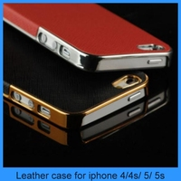 For iphone 5 back Case Luxury Leather Chrome Hard Back Case For iPhone 5 5s case (PT-I5L222)