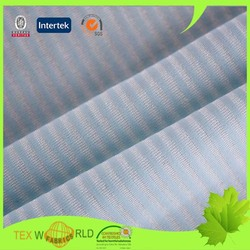 polyester nylon spandex weft knitted navy blue and white stripe fabric