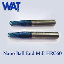 Nano-blue recubrimiento HSC 2 flauta nariz de la bola de China herramientas de alfarería