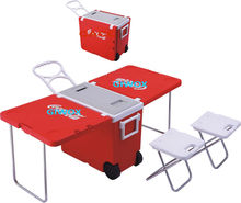 foldable cooler box table ,multifunctional table cooler box portable ,plastic cooler box with wheels