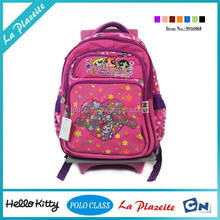 Top quality brand kids school bag with wheels for girls