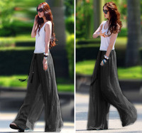 New Fashion Lady Chiffon High Waist Palazzo Slacks Split Skirt Wide Leg Pants