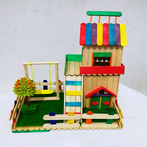 Color Available Customized Size House Craft Popsicle Stick For Kids