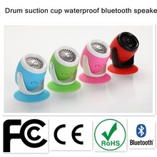 Vogoge drum 2014 new modern high quality wireless suction bluetooth speaker with HandsFree and FM Radio and Phone Holder