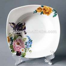 square High Quality plain white porcelain soup plate,white antique porcelain plates with decal