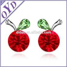 Kids lovely apple earring, red crystal earring jewelry