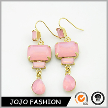 Beautiful Candy Colorful Rose Gold Pink Lucite Fake Crystal Earring
