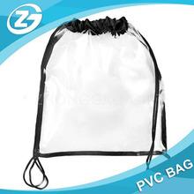 Clear PVC Bag With Drawstring Black Edge