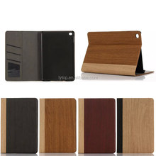 For iPad Mini 4 Wood Grain Case Book Style PU Leather Case Cover With Photo Frame Card Slots Stand Holder