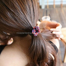 Hair accessories for girls fancy design acetate flower elastic rubber band wholesale