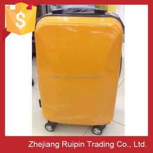 yellow aluminum customized abs pc travel luggage case