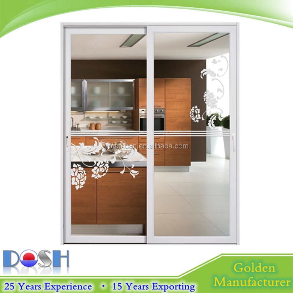 Two Panel Sliding Tinted Glass Door With Multi Lock For