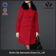 New design winter red lady longsleeve covered buttons for coat with fur collar