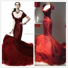 Real Work Latest Dress Design for Bride Burgundy Wedding Dress Mermaid with Short Sleeve