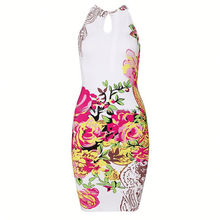2015 woman dress sexy white bandage dress with colorful printing , charming mature peplum evening dress party