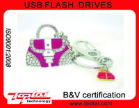 512MB Shining Pink Diamonds Lady's Gift Gadget Crystal Handbag USB Flash Drive