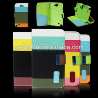 In stock multi-color card slot wallet cover for samsung galaxy note 2