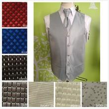 2015 New Men Vest Slim Brand Men's Slim Suit Dress Waistcoats Man Gilet chaleco Business Jacket Red Color With Ties Handkerchief