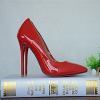 name brand designer stiletto high heel women shoes red patent leather factory customized heels pumps 12cm