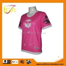 Manufactory good quality v-neck fashionable pink printed sublimation t-shirt