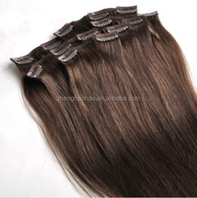 New arrival high quality natural color 30 inch human hair extensions clip in