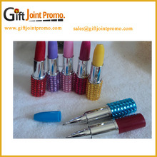 China Manufacturer Crystal Lipstick Novelty LED Mark Pen, Fancy Ballpoint Pen