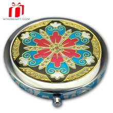 Alloy Folded Makeup Mirror / Cosmetic Round Mirror
