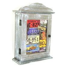 Country Wooden World License Plates Wall Key Box Storage Holder