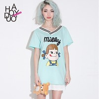 2015 Women FUJIYA Milk Candy Print Cotton T-shirts V Neck Sports Tees for Wholesale Haoduoyi