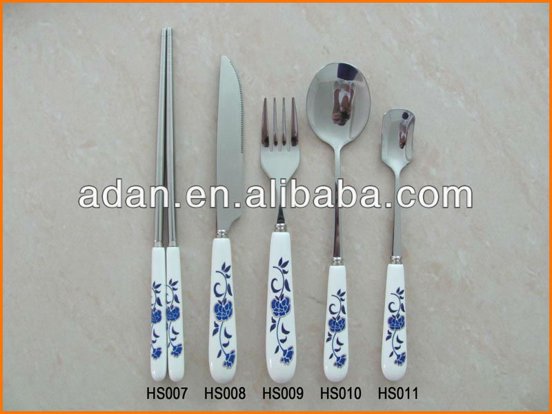 Blue And White Porcelain Handle Ss Cutlery Set Buy 16pcs