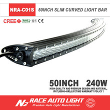 Curved single row Auto lighting 4x4 LED Light Bar 240w 50'' for construction loader with lifetime warranty
