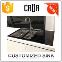 australian modular kitchen guangzhou factory chinese face wash deep glass vessel sink with drain parts