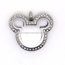 Stainless Steel Micky Floating Charms Locket with Crystal Pendant Wholesale