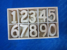 2015 cute unfinished color wooden numbers in art and crafts for kids' toy