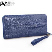 Black Pebble Crocodile/Rose Embossed Womens Genuine Leather Wallet