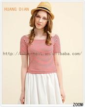 2015 Trendy Women Red And White Stripe T-shirt For Women/Ladies Joker Casual Short Sleeve T shirt