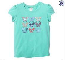 Summer Fashion Children Clothing Butterfly Embroidered Girls Puff Sleeve T-Shirts