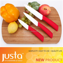 3pcs red PP+TPR handle with EAV black gift box ceramic chef knife