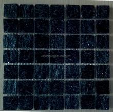 split finish black shimmering quartzite subway mosaics tiles