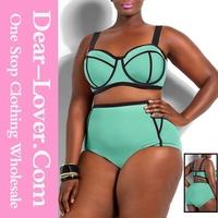 Green plus size xxxl open hot sexy women bikini bathing suits in 2015